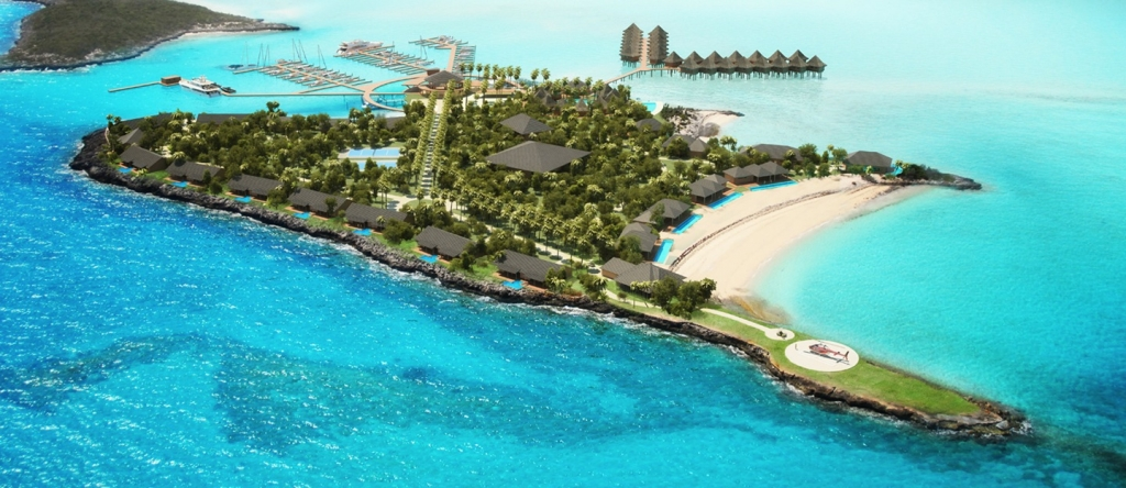 Rendering of Overwater Bungalows at Leaf Cay, Exuma Cays